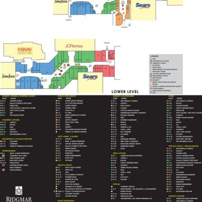 Ridgmar Mall plan - map of store locations