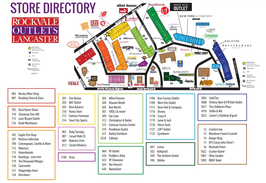 Rockvale Outlets Map Rockvale Outlets (69 stores)   outlet shopping in Lancaster  Rockvale Outlets Map