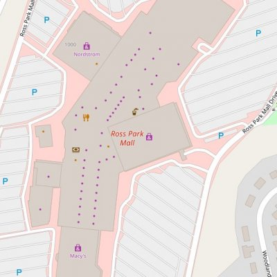 Ross Park Mall plan - map of store locations