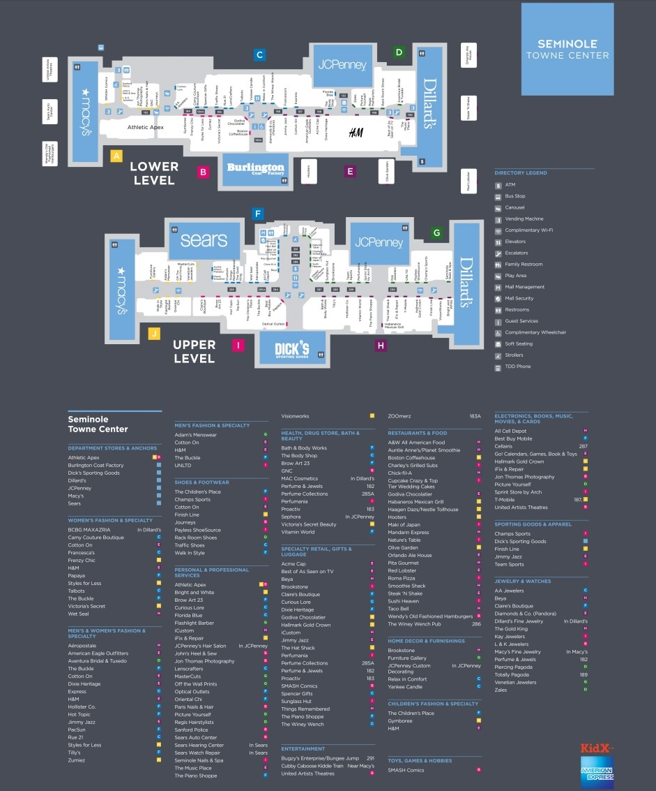 Seminole Towne Center  Stores Shopping In Sanford Florida - Florida mall map