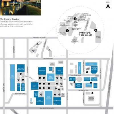 South Coast Plaza plan - map of store locations