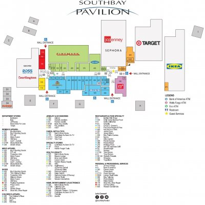 SouthBay Pavilion plan - map of store locations