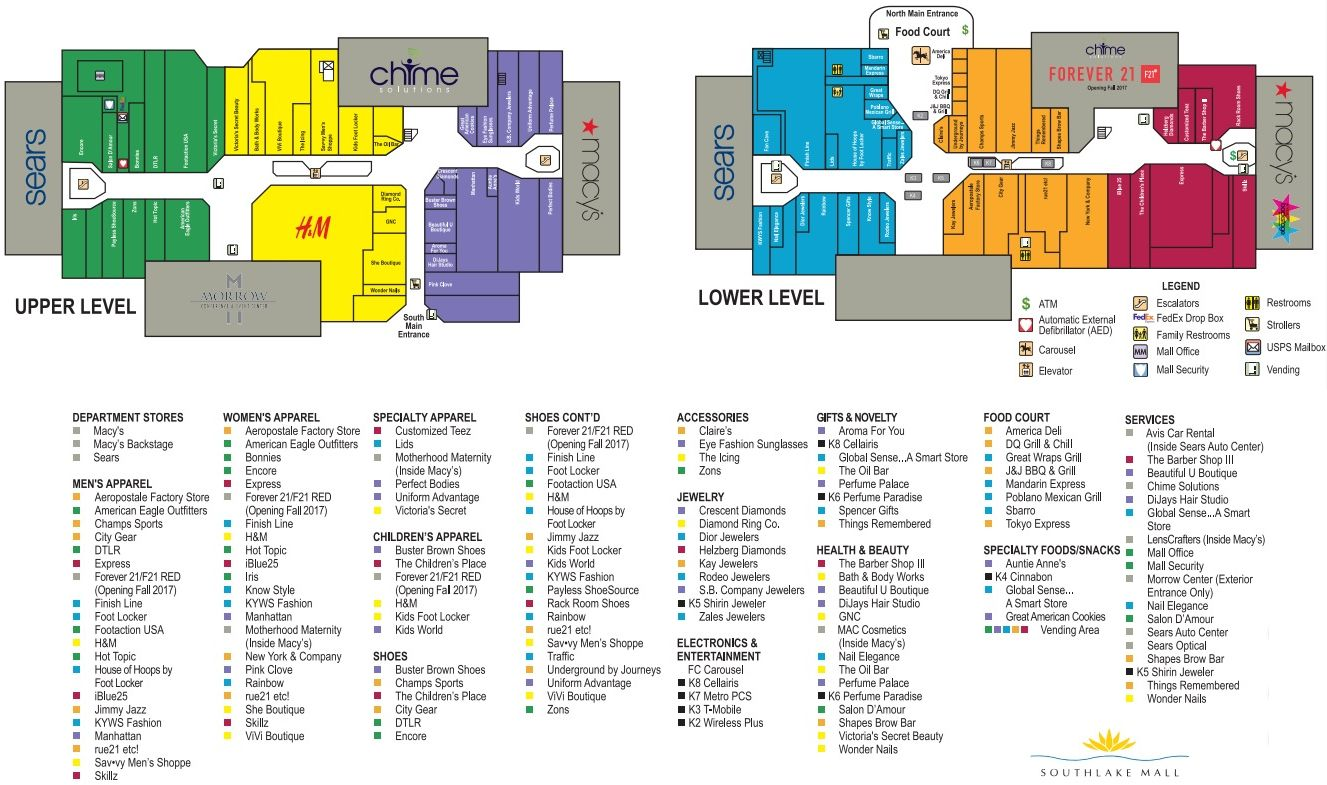 Southlake Mall Map Southlake Mall (97 stores)   shopping in Morrow, Georgia GA 30260  Southlake Mall Map