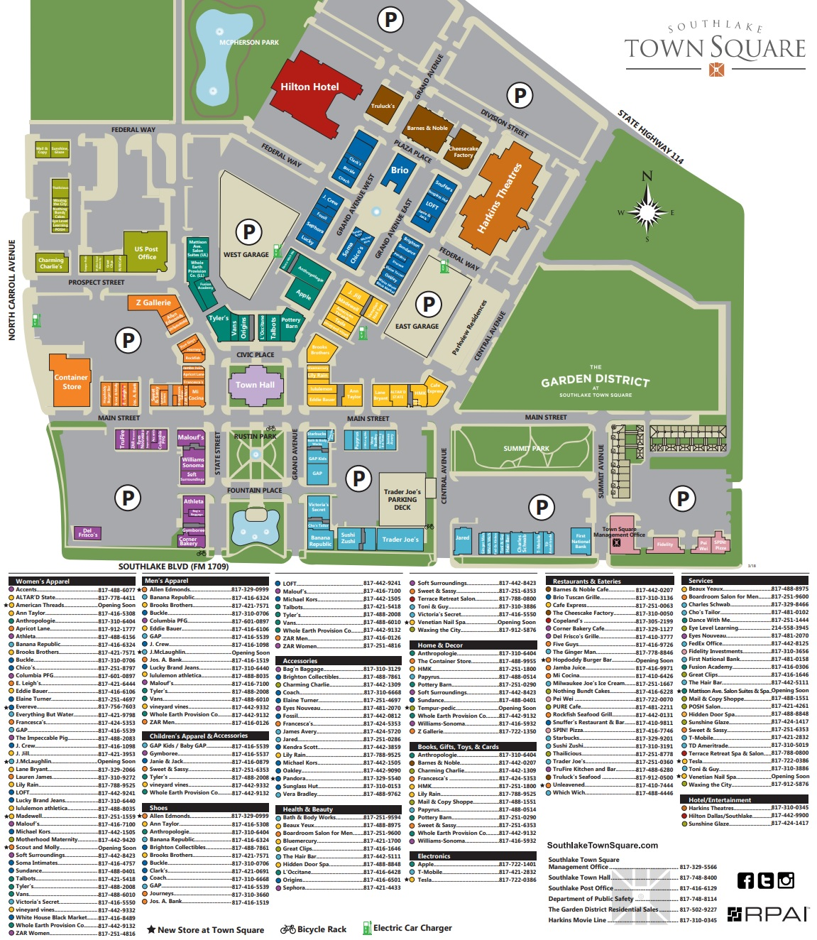 Southlake Mall Map Southlake Town Square (126 stores)   shopping in Southlake, Texas  Southlake Mall Map