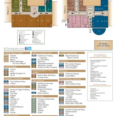 St. Clair Square plan - map of store locations