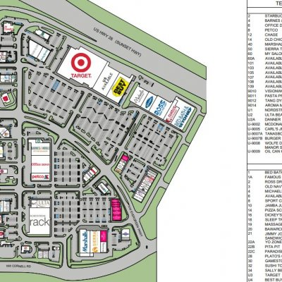Tanasbourne Town Center plan - map of store locations
