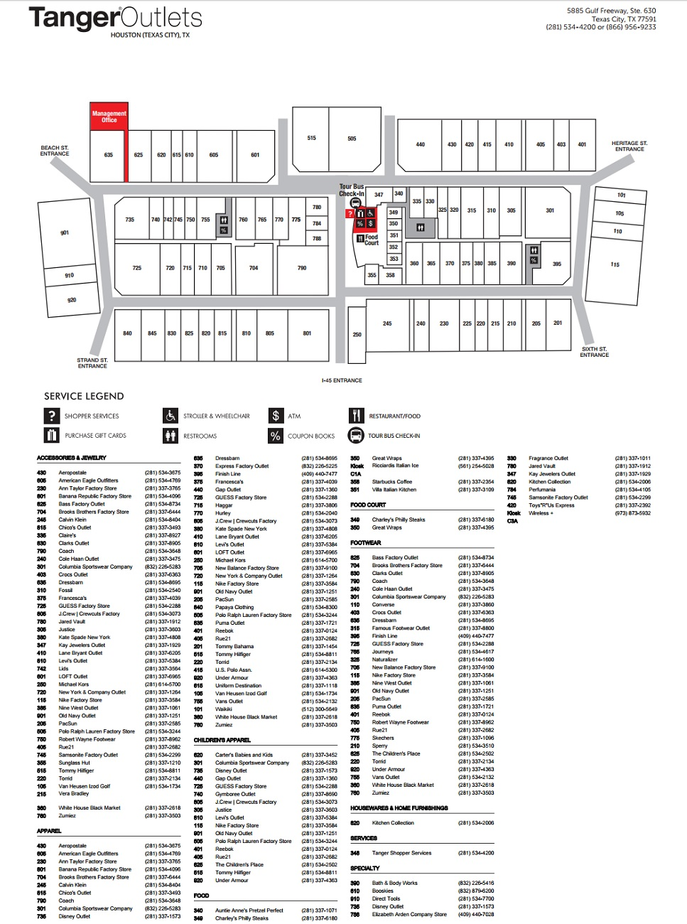 Map Of Texas City.Tanger Outlet Houston 85 Stores Outlet Shopping In Texas City