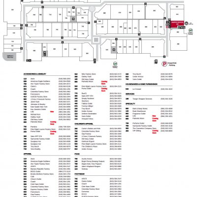 Tanger Outlets Mebane plan - map of store locations