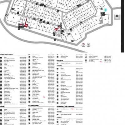 Tanger Outlets Myrtle Beach Hwy 17 plan - map of store locations