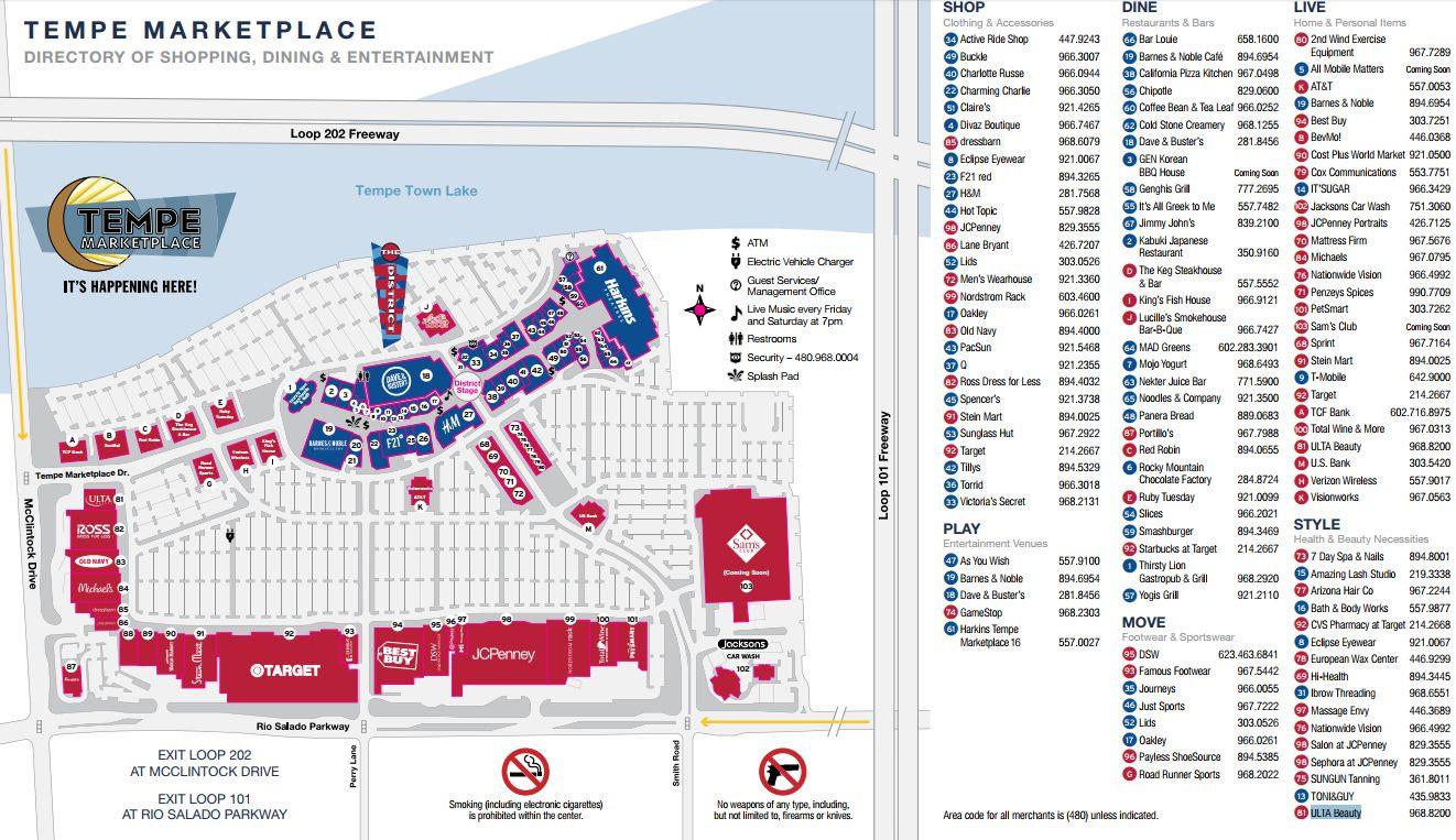 Tempe Marketplace Map Tempe MarketPlace (106 stores)   shopping in Tempe, Arizona AZ