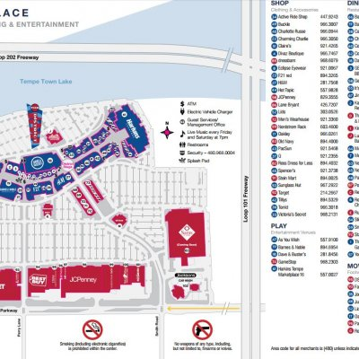Tempe MarketPlace plan - map of store locations