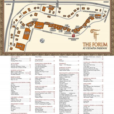 The Forum at Olympia Parkway plan - map of store locations
