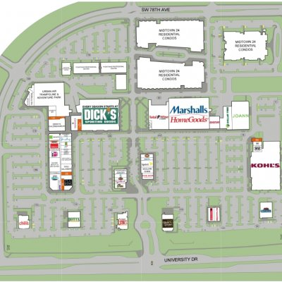 The Fountains plan - map of store locations