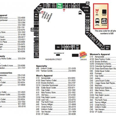 The Outlet Shoppes at Oshkosh plan - map of store locations