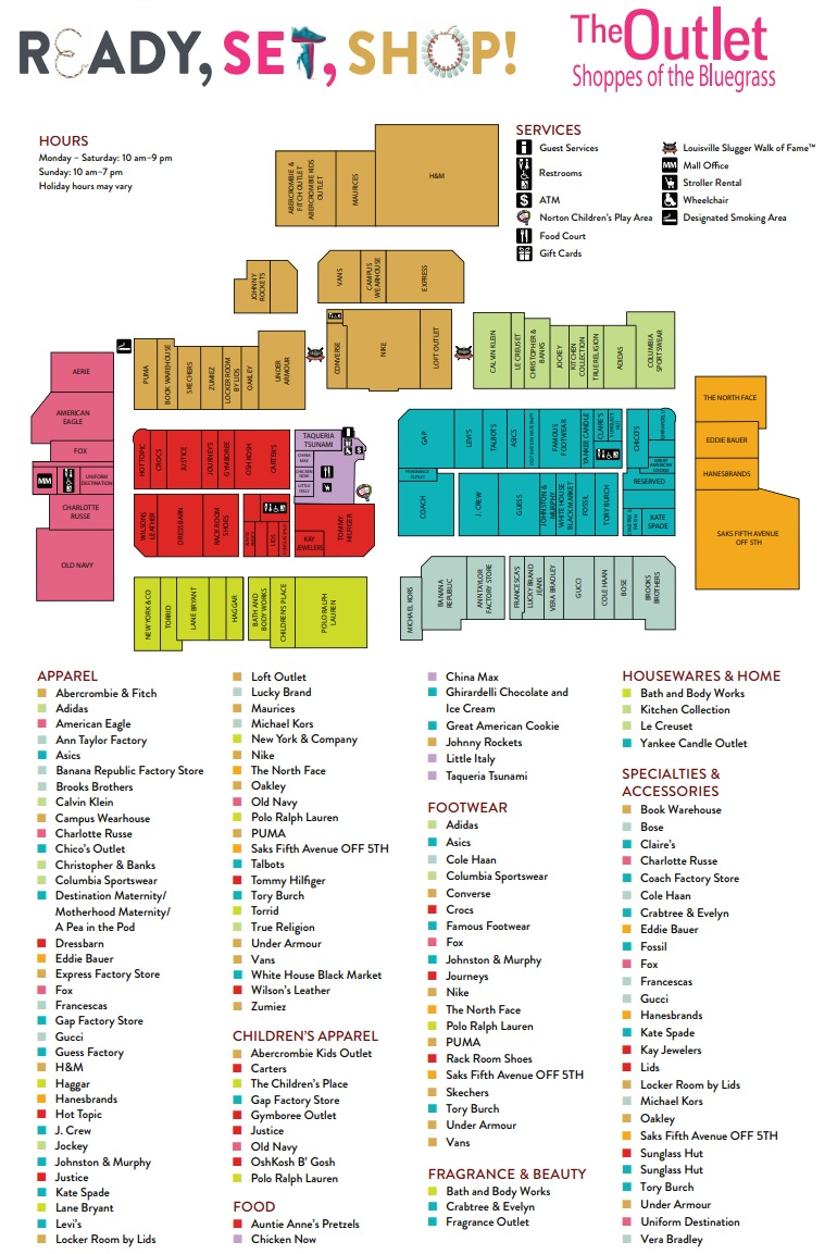Under Armour Campus Map.The Outlet Shoppes Of The Bluegrass 95 Stores Outlet Shopping In