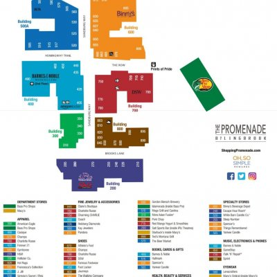 The Promenade Bolingbrook plan - map of store locations