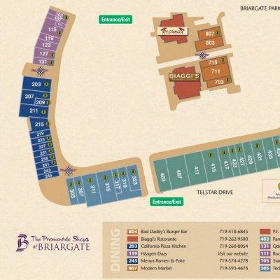 The Promenade Shops at Briargate plan - map of store locations
