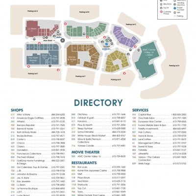The Promenade Shops at Saucon Valley plan - map of store locations