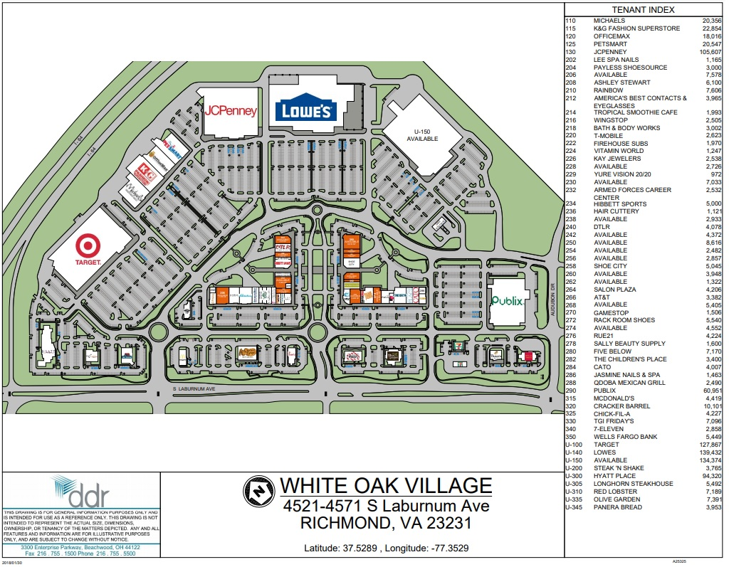 White Oaks Mall Map The Shops at White Oak Village (55 stores)   shopping in Richmond