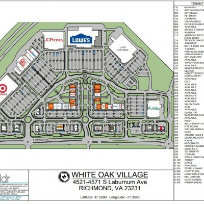 The Shops at White Oak Village plan - map of store locations
