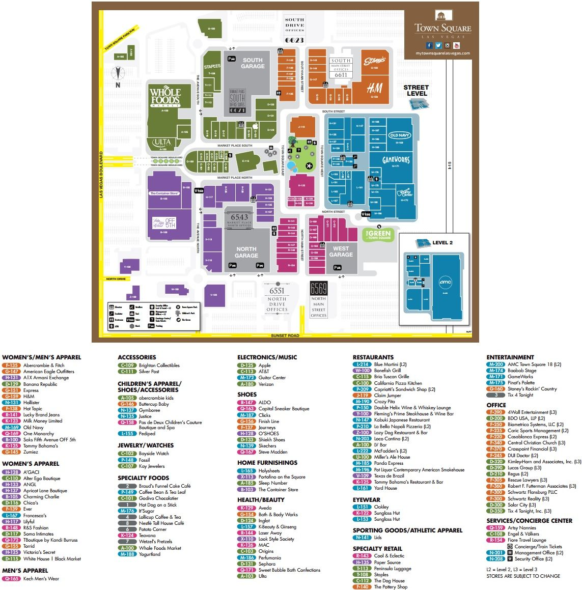 Fashion Show Directory Map Fashion Show - Fashion Show Mall 72