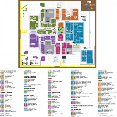 Town Square Las Vegas plan - map of store locations
