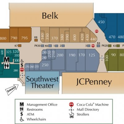 Turtle Creek Mall plan - map of store locations