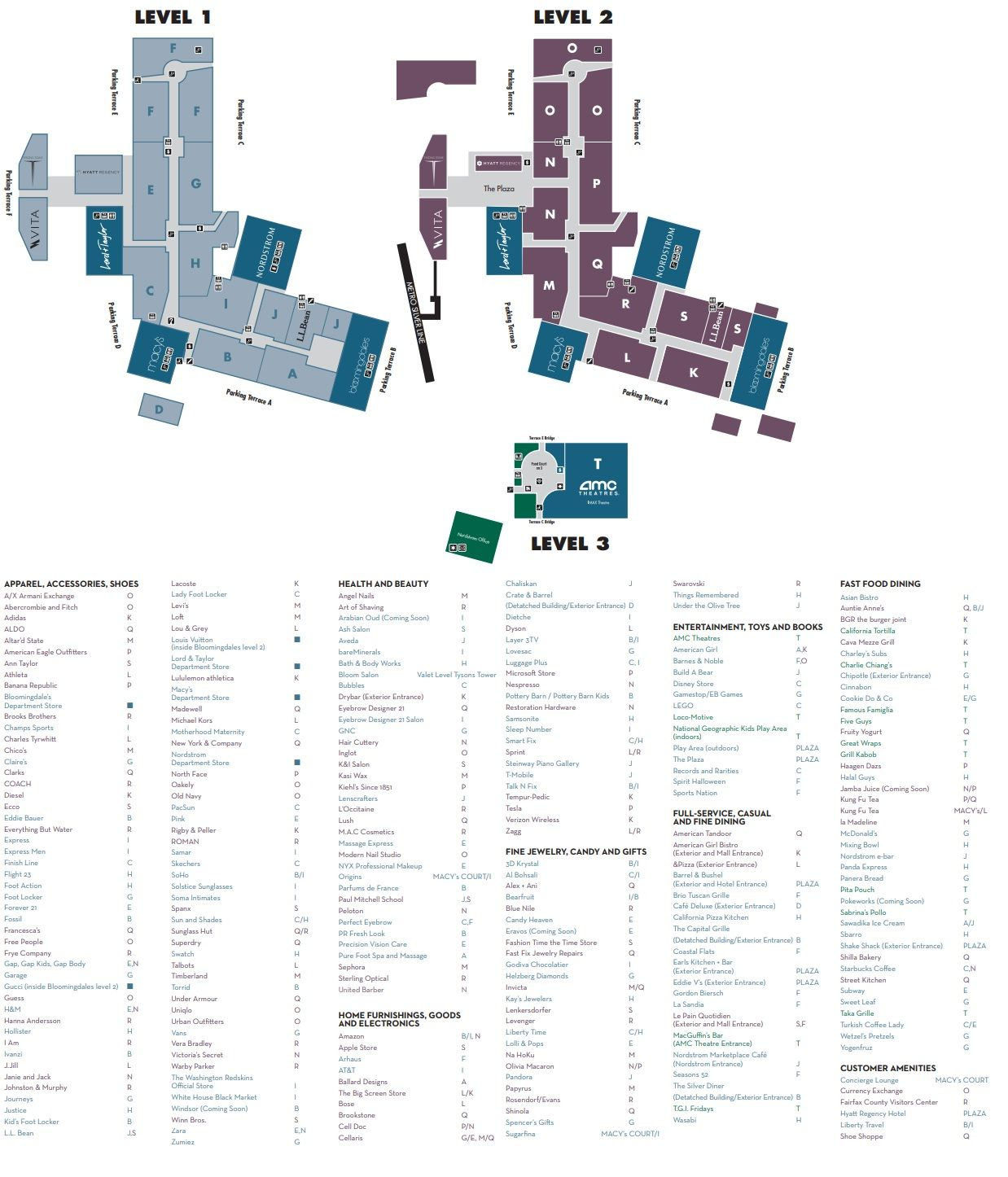 Tysons Corner Center Map Tysons Corner Center (277 stores)   shopping in Tysons Corner