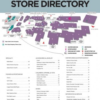 Viejas Outlet Center plan - map of store locations