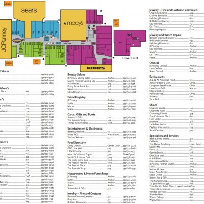 Westland Center plan - map of store locations