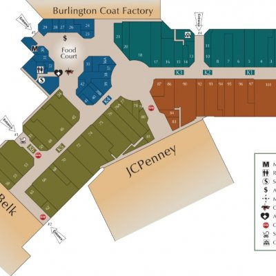Wiregrass Commons Mall plan - map of store locations