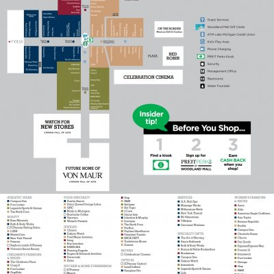 Woodland Mall plan - map of store locations
