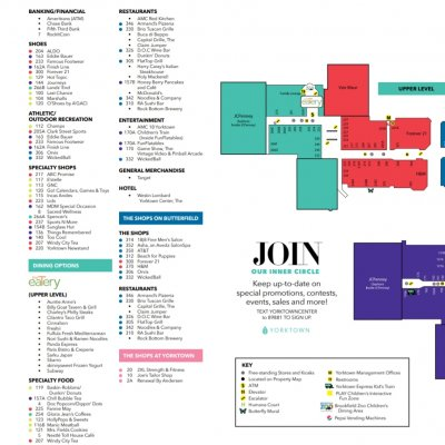 Yorktown Center plan - map of store locations